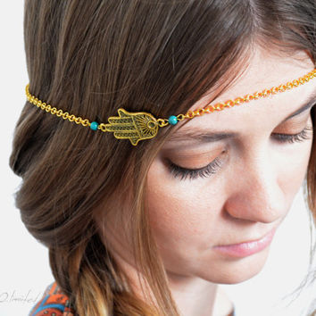 Boho Head Chain Headpiece Headband Hair Piece Bohemian Hipster Boho Hippie Gold Fatima Hand Chain Belly Dancing Bridal  Jewelry FatimaHP