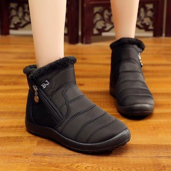 Plus Size 35-43 Snow Boots Women Keep Warm Round Toe Zipper Women Boots Shoes   2018 Fashion Casual Cozy Winter Boots