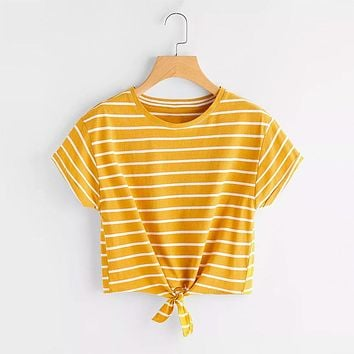 Mustard Knotted Striped Shirt