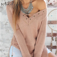 V Collar Cross Sexy Hedging Sweaters Long Sleeve