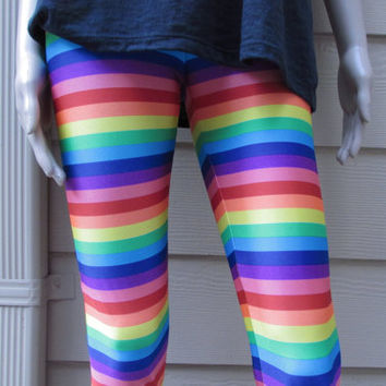 Rainbow Striped Spandex Leggings