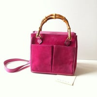 Vintage Gucci Pink Suede Bamboo Tote/ Cross Body Bag