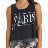 Sheer Paris Graphic Muscle Tee by Charlotte Russe - Black Combo