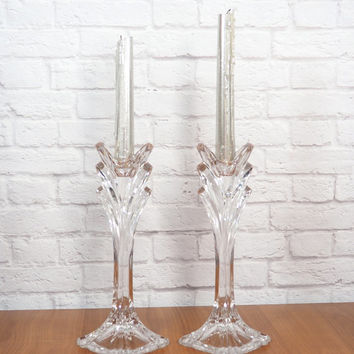 Vintage Deco Crystal Deco Candlestick Pair / Crystal Candle Holders / Art Deco Home Decor / Luxe Gift