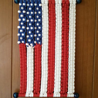 American Flag macrame wall hanging modern macrame nautical knot fiber rope art flag weaving home decor vintage style