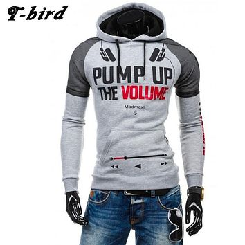 T-bird 2017 Hoodies Brand Men Music Letter Printing Sweatshirt Male Hoody Hip Hop Autumn Winter Hoodie Mens Pullover XXL 97CAS