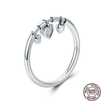 New Arrival Glittering Heart Clear Cubic Zircon Sterling Silver Ring