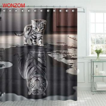 WONZOM Polyester Fabric Tiger Cat Shower Curtain Orangutan Bathroom Decor Waterproof Cortina De Bano With 12 Hooks Gift