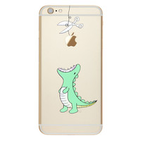 Cute Green Aligater standing with jaws open Phone Case For iPhone 7 7Plus 6 6s Plus 5 5s SE