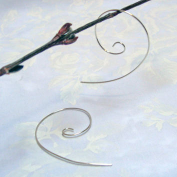 Silver Hoop Earrings, Open Hoop Earrings, 925 Sterling Silver, Simple Modern Silver Earrings, Long Hoop Earrings, Light Weight