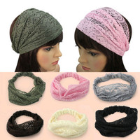 Fashion Girls Chic Bandanas Turban Lace Hair bands Hairbands Head Wraps Wide Head bands Headband Hair Accessories For Woman