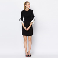 Casual Black Flounced Sleeve Mini Dress