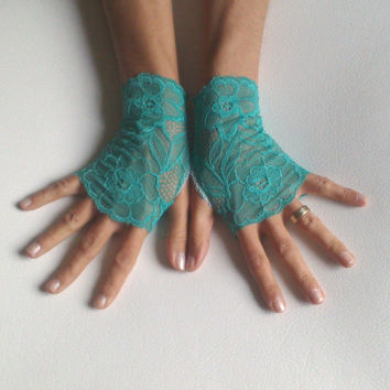 free ship Mint green lace gloves fingerless glove prom party bridal wedding bridesmaid gift teen girls lolita glove
