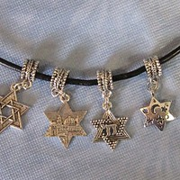 Star of David  Euro design bracelet or necklace charm nice Judaica jewelry your choice of 4 designs