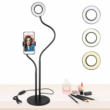 Selfie Ring Light For Makeup and Live Stream with iPhone/Android, UBeesize Adjustable Universal Gooseneck Smartphone Holder Stand for Desktop Bedroom, Office, Bathroom, Kitchen (Stand On Own)