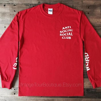 Anti Social Social Club Get Weird Gildan Long Sleeve Tee Shirt ASSC Kanye West T-Shirt Red-White