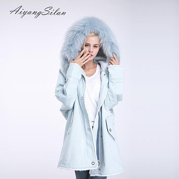 AiyangSilan Real Rex Rabbit Fur Liner Parka Natural Raccoon Fur Collar Jacket Women Jean Winter Warm Coat Outwear Long Jackets