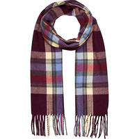 River Island Girls purple and yellow plaid scarf