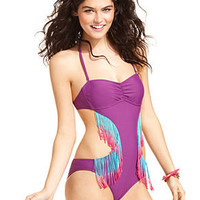Bikini Lab Swimsuit, Bandeau Fringe One-Piece Monokini - Womens Swimwear - Macy's