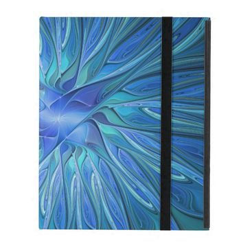 Blue Flower Fantasy Pattern, Abstract Fractal Art iPad Covers