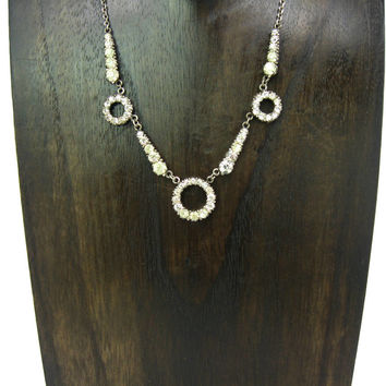 Art Deco Necklace. Geometric Circles & Rays. Vintage Sterling Silver, Paste Crystals. Antique 1910s 1920s Transitional Edwardian Jewelry