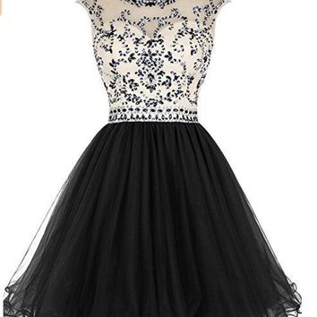 Ubridal Women's Beaded Prom Dress Short Tulle Homecoming Dress Hollow Back Party Dresses