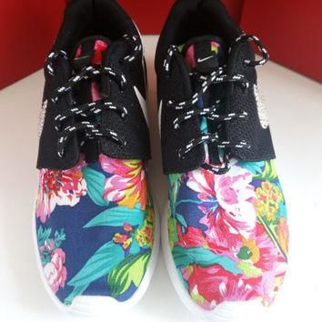 custom nike roshe run sneakers womens black athletic shoes with fabric floral and blin