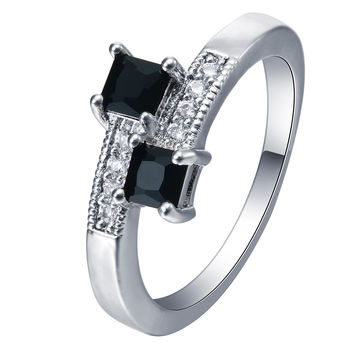 Fashion Black Zirconia Stone Square silver plated Rings for Women Engagement Girls Valentine's Gift Thin Cute Beautiful Jewelry