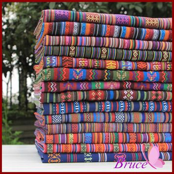 1 piece/lot 150*50cm Retro ethnic stripes Series cotton fabric meter textil sew cheap meter cotton fabric patchwork