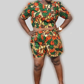 Tempte Green - Shorts and Crop Top Set - Plus Size African Print Shorts and Top