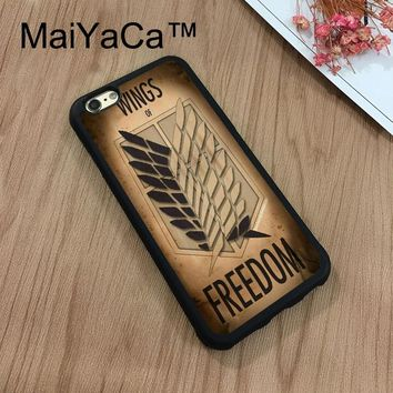 Cool Attack on Titan MaiYaCa  Wings Of dom Flag Phone Cases For Apple iPhone 8 Coque Case Rubber Soft TPU Phone Case Back Cover AT_90_11