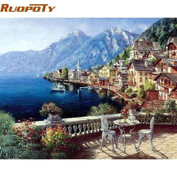 RUOPOTY Frame Austria Town Landscape DIY Painting By Numbers Modern Wall Art Canvas Painting Home Decoration For Unique Gift