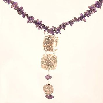 Amethyst - Castle in the Sky - Pure Silver Necklace