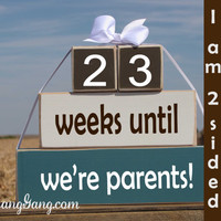 "Baby/pregnancy countdown blocks. Baby Shower gift. -""weeks until we're parents.""  Shower hostess gift. Photography prop. BLUE,Brown, & WHITE"