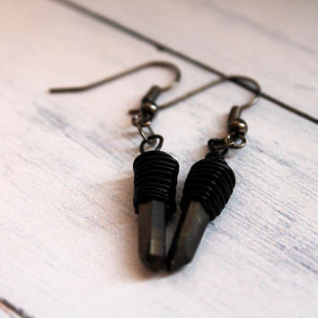 Aura Quartz Earrings - Witchy Earrings - Gothic earrings - Shard Earrings - Copper Earrings - Statement Earrings