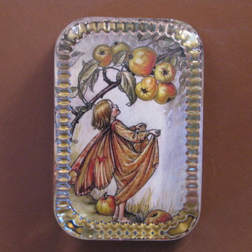 Autumn Crab-Apple Flower Fairy Heirloom Rectangle Glass Paperweight Cicely Mary Barker Home Decor