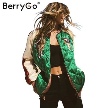 Trendy BerryGo Embroidery satin basic jacket Women streetwear baseball jackets Autumn winter padded casual spliced jacket coat outwear AT_94_13