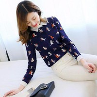 Women's Cat Print Blouse