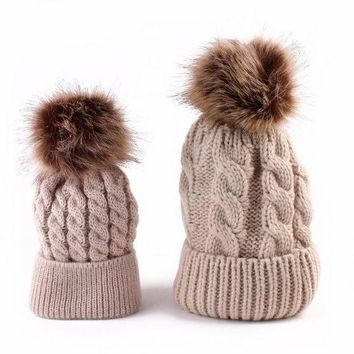 CREYWQA 2pcs Winter Mom And Daughter Matching Knitted Beanie Cap Keep Warm Faux Fur Hats Gorro Chapeu Amazing Sep