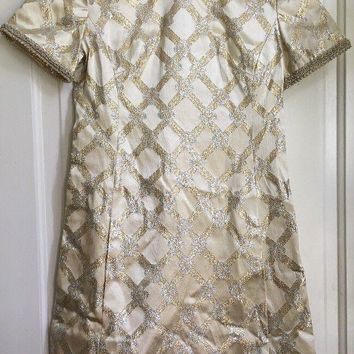Women's Vintage 1960's Leslie Fay Original Gold & Silver Cocktail Dress - S-M