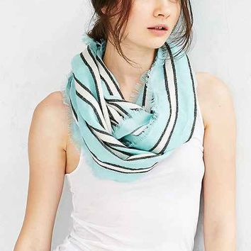 Textured Woven Stripe Eternity Scarf