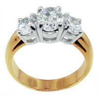 2 ct. yellow gold ring oval diamonds ring anniversary