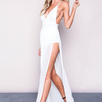 IVORY MESH BODYSUIT MAXI DRESS