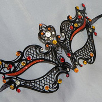 Petite Metallic Filigree Masquerade Mask with Red, Orange and Yellow Accents - Made To Order