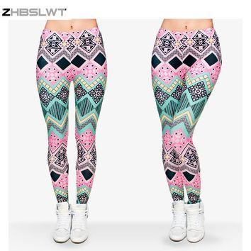 ZHBSLWT   Hot Sale New Arrival 3D Printed Fashion Women Leggings Space Galaxy Leggins