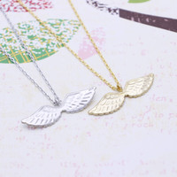 Angel wings necklace in  silver or gold tone
