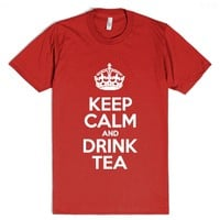 Keep Calm and Drink Tea - Motivational Slogan-Unisex Red T-Shirt