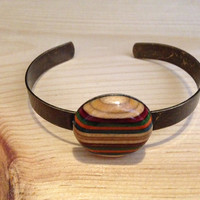 Recycled Skateboard Bracelet - Antique Bronze