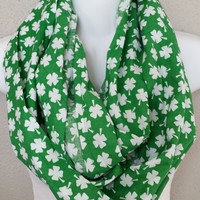 White Shamrocks Print Infinity Scarf Womens St Pattys Day Circle Scarf Girls St Patricks Day Scarves Saint Patricks Day Scarf