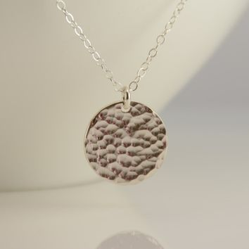 "Hammered disc necklace. 5/8"" disc necklace. 1/2"" disc necklace. Small disc necklace"
